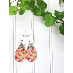 Mixed Pinks and Gold Dangle Earrings